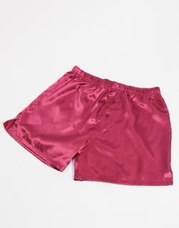 ASOS DESIGN - Boxershorts aus Satin in Rosa-Rot