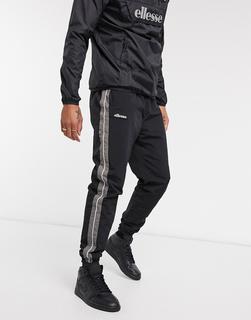 Ellesse - Nylon-Jogginghose mit reflektierender Paspelierung in Schwarz