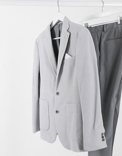 Burton Menswear - Schmal geschnittener Pikee-Blazer in Hellgrau
