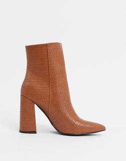 London Rebel - Spitze Ankle-Boots mit Absatz in Toffee-Bronze