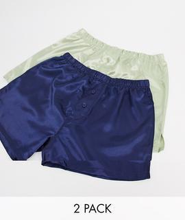 ASOS DESIGN - ASOS DESIGN – 2er-Pack Boxershorts aus Satin in Marine & Jade-Mehrfarbig