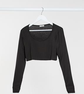 Rokoko Plus - Kurzes, langärmliges Shirt in Schokoladenbraun