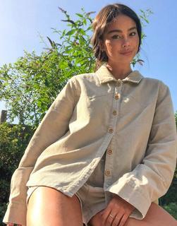 Emory Park - Übergroßes Hemd aus Cord in Creme, Kombiteil-Beige
