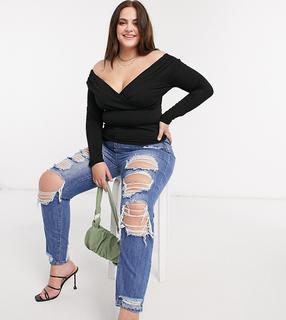 Missguided Plus - Riot – Mom-Jeans im Used-Look in Blau
