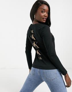 Calvin Klein Jeans - Langärmliges Shirt in Schwarz mit Logo am Rücken