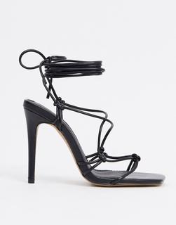 Truffle Collection - Schwarze Sandalen mit Knöchelschnürung und halbhohem Absatz