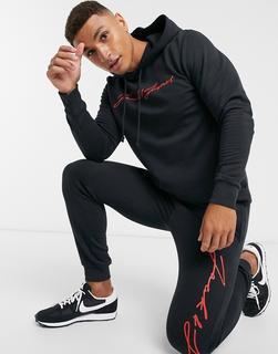 Jack & Jones - Trainingsanzug – mit rotem Schriftzug-Schwarz
