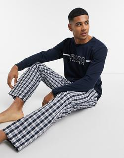 Boss - Pyjama mit Logo in Marine-Navy