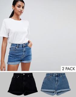 ASOS DESIGN - Ritson – Mom-Jeansshorts in verwaschenem Schwarz und Mittelblau, 2er-Pack, spare 14%-Mehrfarbig