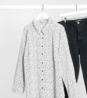 Brave Soul Plus - Hemd mit geometrischem Muster-Weiß