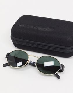 Arnette - Runde Sonnenbrille in Schwarz/Gold, 0AN3081