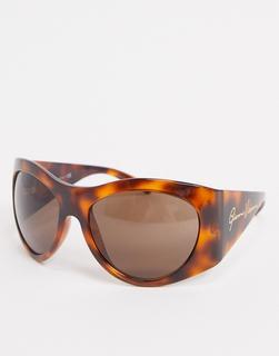 Versace - Runde Oversize-Sonnenbrille mit Schildpattoptik, 0VE4392-Braun