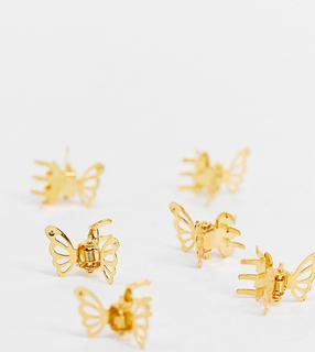 Glamorous - Goldene Schmetterlings-Haarspangen, 6 Multipack