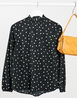 New Look - Hochgeschlossene Bluse in Schwarz gepunktet mit Raffung-Mehrfarbig