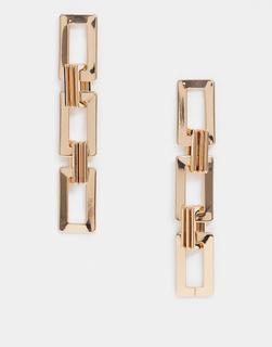 ASOS DESIGN - Goldfarbene Ohrringe mit quadratischem Gliederdesign
