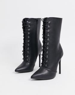 Glamorous - Schnürstiefel in schwarzer Lederoptik