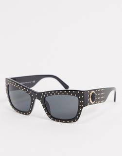 Versace - Eckige Retro-Sonnenbrille in Schwarz mit goldenen Details