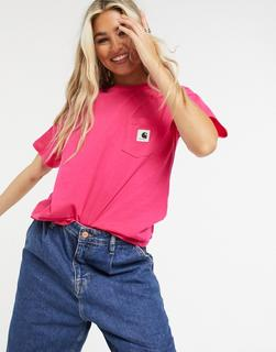 Carhartt WIP - Carrie – Kurzärmliges T-Shirt mit Tasche in Rubinrosa und Asch-Heide