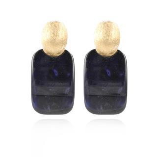 LOTT.gioielli - Ohrringe - Resin Rectangle M Dark Blue Gold - in marine - für Damen