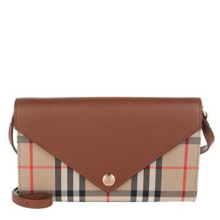 Burberry - Umhängetasche - Vintage Check Crossbody Leather Tan - in braun - für Damen