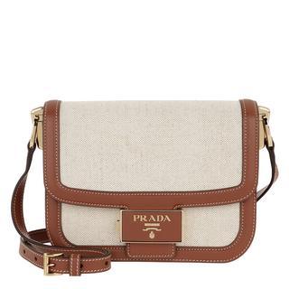 Prada - Umhängetasche - Emblème Logo Plague Shoulder Bag Calf Naturale/Cognac - in cognac - für Damen