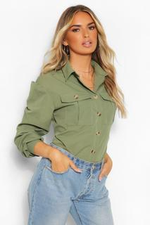 boohoo - Womens Woven Utility Shirt - Khaki - 32, Khaki