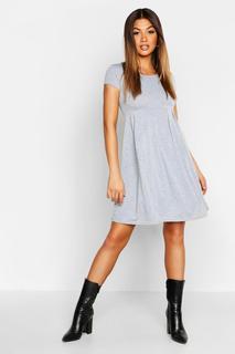boohoo - Womens Skater-Kleid Aus Jersey Mit Flügelärmeln - Grau Meliert - 34, Grau Meliert