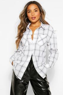 boohoo - Womens Petite Pocket Front Check Shirt - White - 4, White