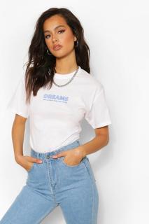 boohoo - Womens Dreams Are Closeer Slogan T Shirt - White - S, White