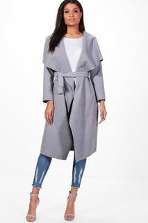 boohoo - Womens Mantel Mit Gürtel Und Wasserfallkragen - Grau - S/M, Grau