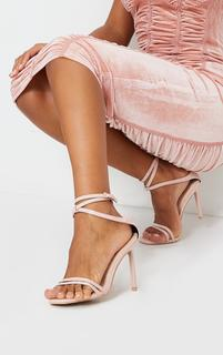 PrettyLittleThing - Pink Double Strap Multi Ankle Tie High Heeled Sandals, Pink