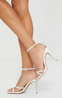 PrettyLittleThing - White Side Cross Over Square Front High Heel, White