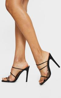 PrettyLittleThing - Black Wide Fit Toe Loop Strappy High Heeled Mules, Black