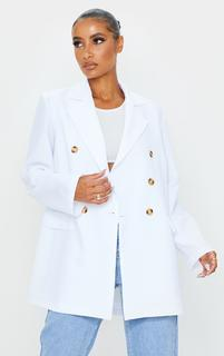 PrettyLittleThing - White Woven Oversized Shoulder Pad Button Down Blazer, White