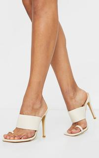 PrettyLittleThing - Cream Square Toe Loop High Heel Mules, White
