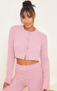 PrettyLittleThing - Blush Premium Fluffy Knitted Crop Cardigan, Pink