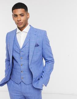Harry Brown - Schmal geschnittene Anzugjacke aus Leinen in Blau kariert