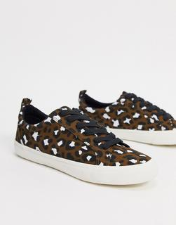ASOS DESIGN - Dunn – Geschnürte Sneaker mit Leopardenmuster-Mehrfarbig