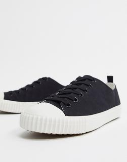 ASOS DESIGN - Schwarze Canvas-Sneaker mit gerippter Sohle-Blau