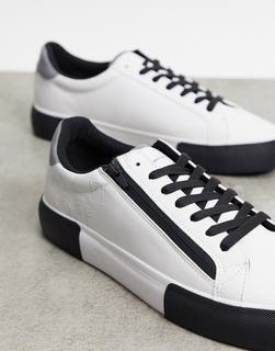 Bershka - Weiße Sneaker mit Plateausohle und Reißverschluss