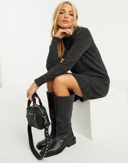 Vero Moda - Minipulloverkleid in Schwarzer Kalk
