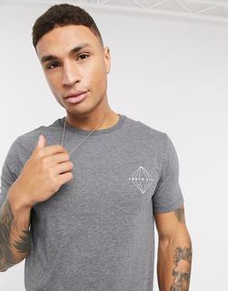 Burton Menswear - Graues T-Shirt mit Tokyo-Aufdruck auf der Brust