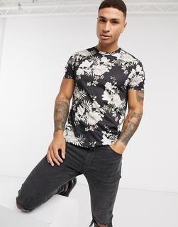 Burton Menswear - Schwarzes T-Shirt mit Blumenprint