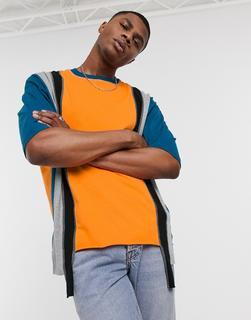 ASOS DESIGN - Oversize-T-Shirt mit halblangen Ärmeln und geteiltem Design-Orange
