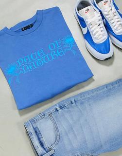 ASOS DESIGN - Oversize-T-Shirt aus schwerem Jersey in Blau mit floralem Gotikprint und Acid-Waschung