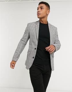 New Look - Enge Anzugjacke in Grau kariert