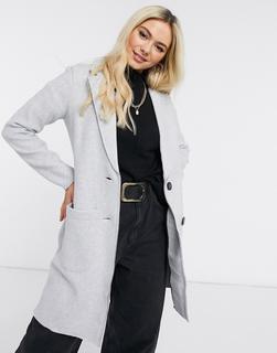 JDY - Lang geschnittener Mantel in Grau