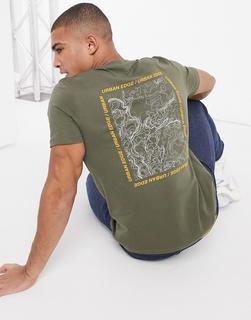 Jack & Jones - Core – Legeres T-Shirt mit rückseitigem Print in Khaki-Grün