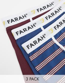 Farah - Byrne – 3er-Set Boxershorts mit einfarbigem Design und Streifenmuster-Mehrfarbig
