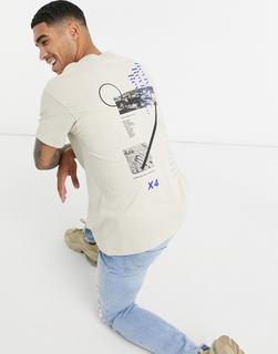 Topman - T-Shirt mit Print vorn und hinten in Sand-Stone